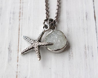 Starfish druzy necklace, beach necklace, ocean necklace, druzy necklace, resort jewelry, beach jewelry, starfish pendant, sea star pendant