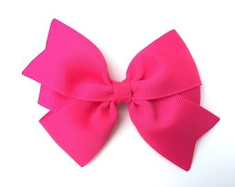Hot pink hair bow - hair bow, bow, hair bows, girls hair bows, hair bows for girls, toddler bows, baby bows, hair clips, pigtail bows, bows