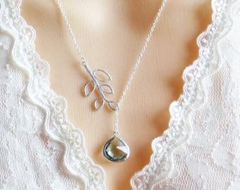 Aquamarine Lariat Necklace, Mothers Day Jewery Gift, Necklace for Mom, Necklace for Best Friend, Necklace for Wife, Bridesmaid Necklace, Mom