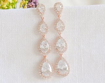 Rose Gold Bridal Earrings, Wedding Earrings, Long Drop Earrings, Teardrop Halo Dangle Earrings, Wedding Bridal Jewelry, Gold, Silver, ANYA