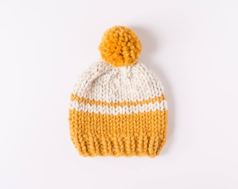 Soft Wool Color Block Pom Pom Hat, Newborn Hat, Baby Hat, Newborn Prop, Kids Knit Beanie, Striped Hat, Chunky Wool, Chunky Knit Beanie