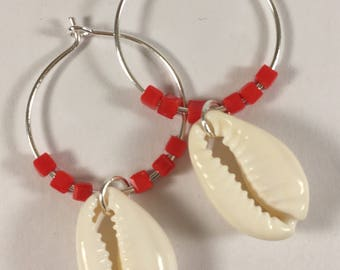 Silver Pearl hoop earrings with glass and cowrie shells