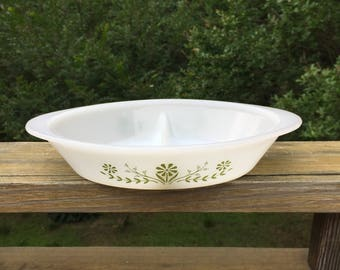 Glasbake Green and White Flower Divided Casserole Dish - Collectables - Vintage Gift - Glasbake Bowl - Vintage Casserole - Retro Decor