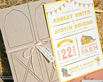 Barn Wedding Invitation Rustic Wedding Invitations Wooden