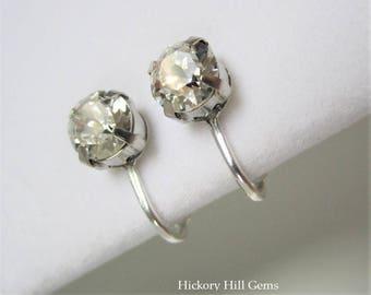 Clip-on Earrings Crystal Rhinestone Clip-on Earrings Clear Faux Diamond Silver Plated Clip-On Earrings White Clear Gemstone Clip On Earrings
