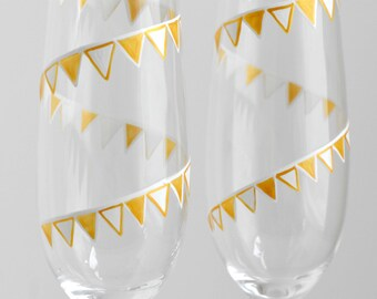 Gold and White Pennant Banner Painted Champagne Flutes - Set of 2 Personalized Toasting Flutes - Last Set