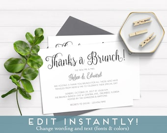 Post Wedding Brunch Invitation, Thanks A Brunch Invitation , Instant  Download Invitation, Wedding Template, Brunch Printable, Brunch Invite