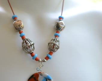 African Bead and Handmade Glass Necklace