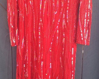Vintage red fully beaded dress