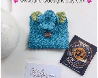 Crocheted Tea Travel Purse / Tea Purse / Tea bag Holder - in Organic Pure Cotton