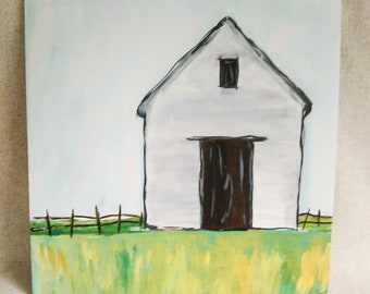 White Barn Acrylic Painting