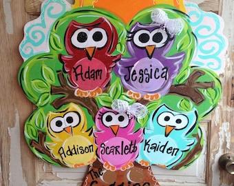 Personalized Owl Family Door Hanger