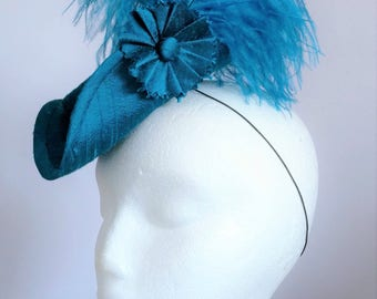 Teal Silk Mini Tricorne Hat - Rococo Style Costume Hat - Blue Marie Antoinette Fascinator - Ready To Ship