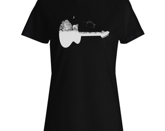 Guitar Wild Forest Ladies T-shirt u491f