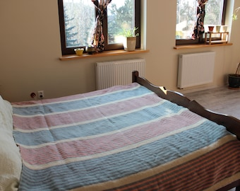 Wool Blanket, Mid Century, Blue, Pink, Grey and Cream Strips, 100% wool, Vintage DIDAS of Holland