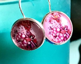 Pink Fancy Nancy cabochon earrings- 16mm