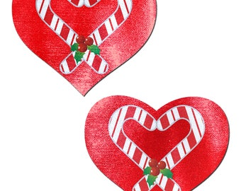 Pasties - Candy Cane Heart Nipple Pasties by Pastease® o/s