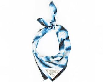 Indigo Blue Shibori Hand Dyed Bandana // Scarf // Wrap // Neckerchief // Neck Tie