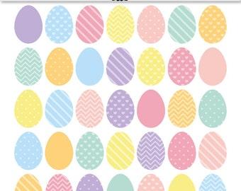 Easter Egg Clip Art Patterned pastel Easter clipart - INSTANT DOWNLOAD - minimalist easter eggs stripes, chevron, spots, hearts