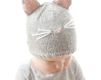 Cat Hat KNITTING PATTERN / Baby Cat Hat Pattern / Cat Hat for Baby / Cat Ear Hat Pattern / Knit Cat Hat / Cat Hat Pattern / Knit Cat Beanie