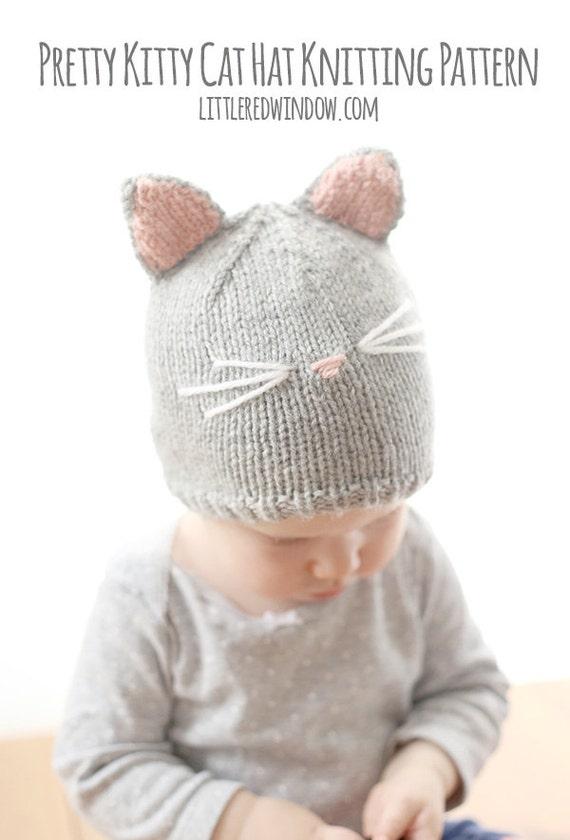 Gato sombrero del patrón que hace punto / bebé patrón del