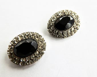Musi Black and Clear Rhinestone Shoe Clips