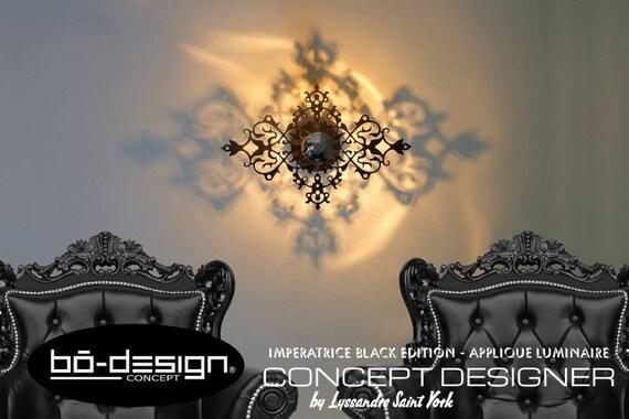 luminaire design baroque imperatrice modele 45x30 cm noir. Black Bedroom Furniture Sets. Home Design Ideas