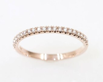 14k Solid Gold Wedding Ring/Diamond Wedding Band/Dainty Half Eternity Band/Diamond Ring for Women/Micro Pave Diamond Ring/Stackable Ring