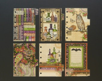 """Double sided laminated dividers - Pocket size - """"The book of spells"""""""