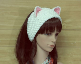Cat Head Band, Ears Head Band, White Crochet Cat Head Beand, Chunky Cat Beanie, Cat Hat, Winter Accessories, Holiday Fashion, Winter Hat
