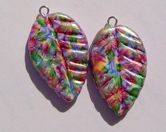 Colorful Leaf Charms Handmade Artisan Polymer Clay Charm Pair