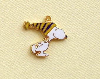 Aviva Vintage Skating with Blue and Yellow Striped Hat Charm  Enamel Cloisonne 0114