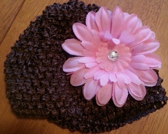 Brown and Pink Crochet Flower Baby Hat
