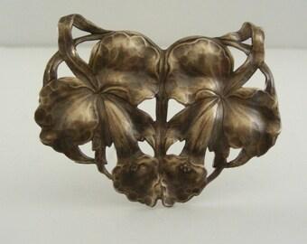 Vintage Pendant - Art Nouveau Pendant - Brass Stamping - Large Pendant - Orchid Pendant Flower Pendant - DIY Necklace