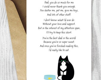Funny Fathers Day Card Print Instant Download, Printable Father's Day Cards from the Cat, Tuxedo Cat Card for Him, Black and White Cats