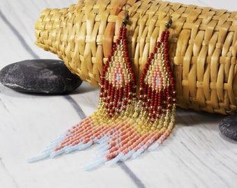 Gold earrings extra long earrings duster earrings beaded tassels earrings dangle earrings brown earrings summer earrings boho gypsy earrings