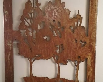 Rustic Tree Scene Wall Art,  Rusted and Clear Coat
