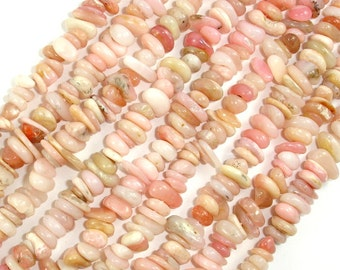 Pink Opal beads, Pebble Chips, Approx (4-7) mm, 15.5 Inch, Full strand, Hole 0.8 mm, A quality (350005002)