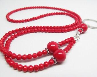 Red Beaded Lanyard in Mountain Jade stone; ID Badge Holder Lanyard; Red Eyeglasses Lanyard; Eyeglasses Lanyard; Glasses Holder Necklace