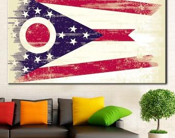 Flag of Ohio, Ohio Vintage print, Americana Ohio, Ohio State Flag, Ohio flag, State flag of Ohio, Ohio, Vintage print, Ohio Wall Art