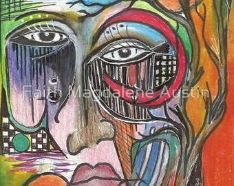 Shattered Face Art Brut Berserk Bright Colors Original Art as Poetry