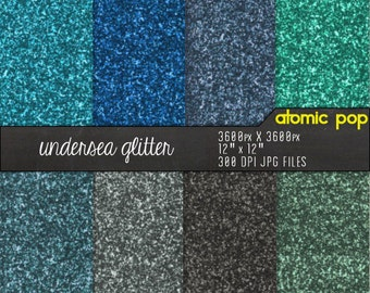 Instant Download // Underwater Blue Green Glitter Digital Paper Pack// Glitzy Digital Scrapbooking Decoupage