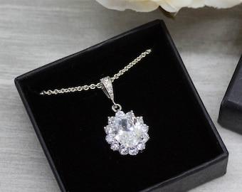 Crystal necklace 925 Silver, crystal wedding Bridal jewelry, Bridal necklace, Wedding jewelry, Wedding necklace, Bridesmaid jewelry