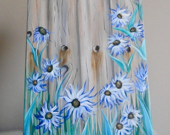 Flower Painting, Fence Flowers, Canvas Painting