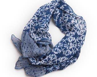 Indonesian Natural Dye Indigo Silk Scarf
