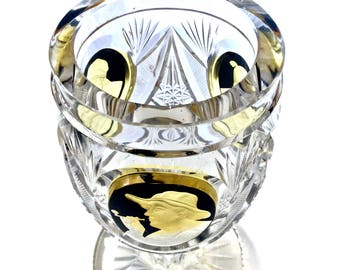 "Bohemian Biedermeier Beaker 7"" Cut Crystal Vase/Chalice, Deeply Cut to Clear Amber Satin Overlay Medallion Cameo & Enameled Black"