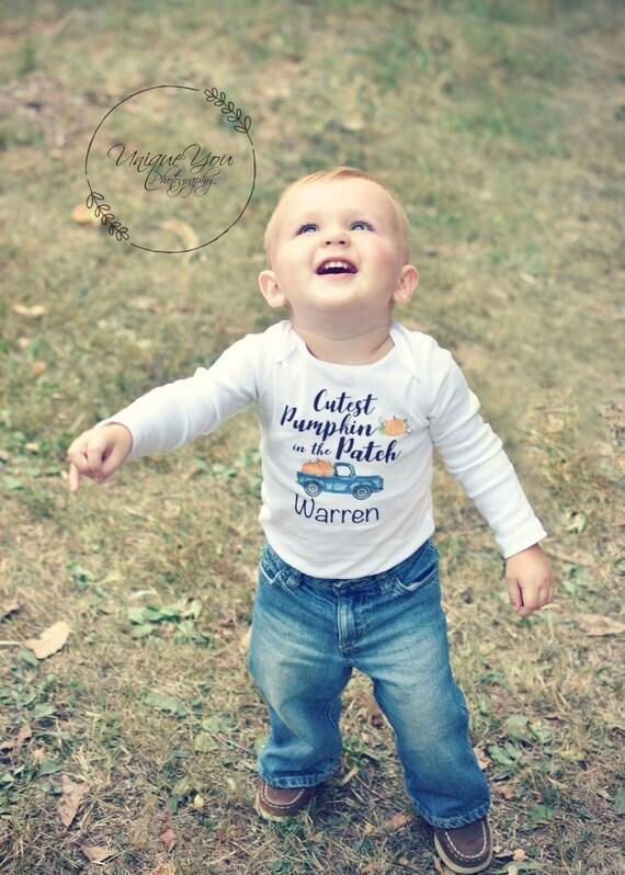 Fall Boy Cutest Pumpkin in the Patch Bodysuit Fall Baby Bodysuit Personalized Cutest Pumpkin Name Shirt