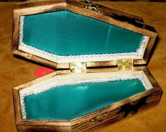Gothic Coffin Jewerly Box Teal & Silver