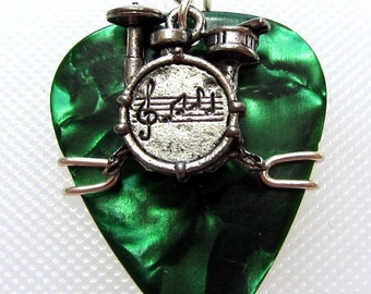 Guitar Pick Pendant - green pick with drumset charm