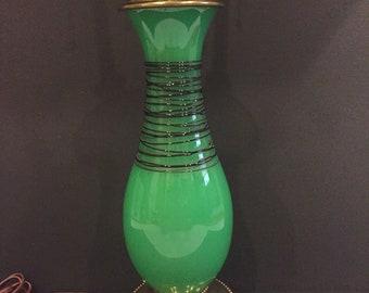 Green Jade Threaded Art Glass Lamp Attrib. To Steuben